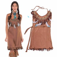 Pocahontas Princess Indian Maiden Sexy Costume Powhatan Native American Indian Costume Suede Tassels Fancy Dress Plus