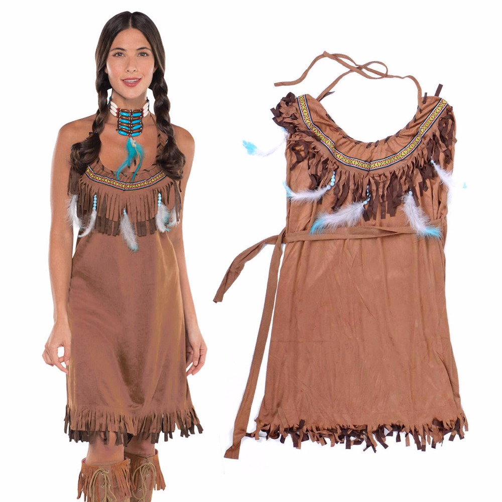 Adult Pocahontas Princess Indian Maiden Costume Powhatan TRIBAL Native American Fancy Dress Costume Suede Tassels with Fringe