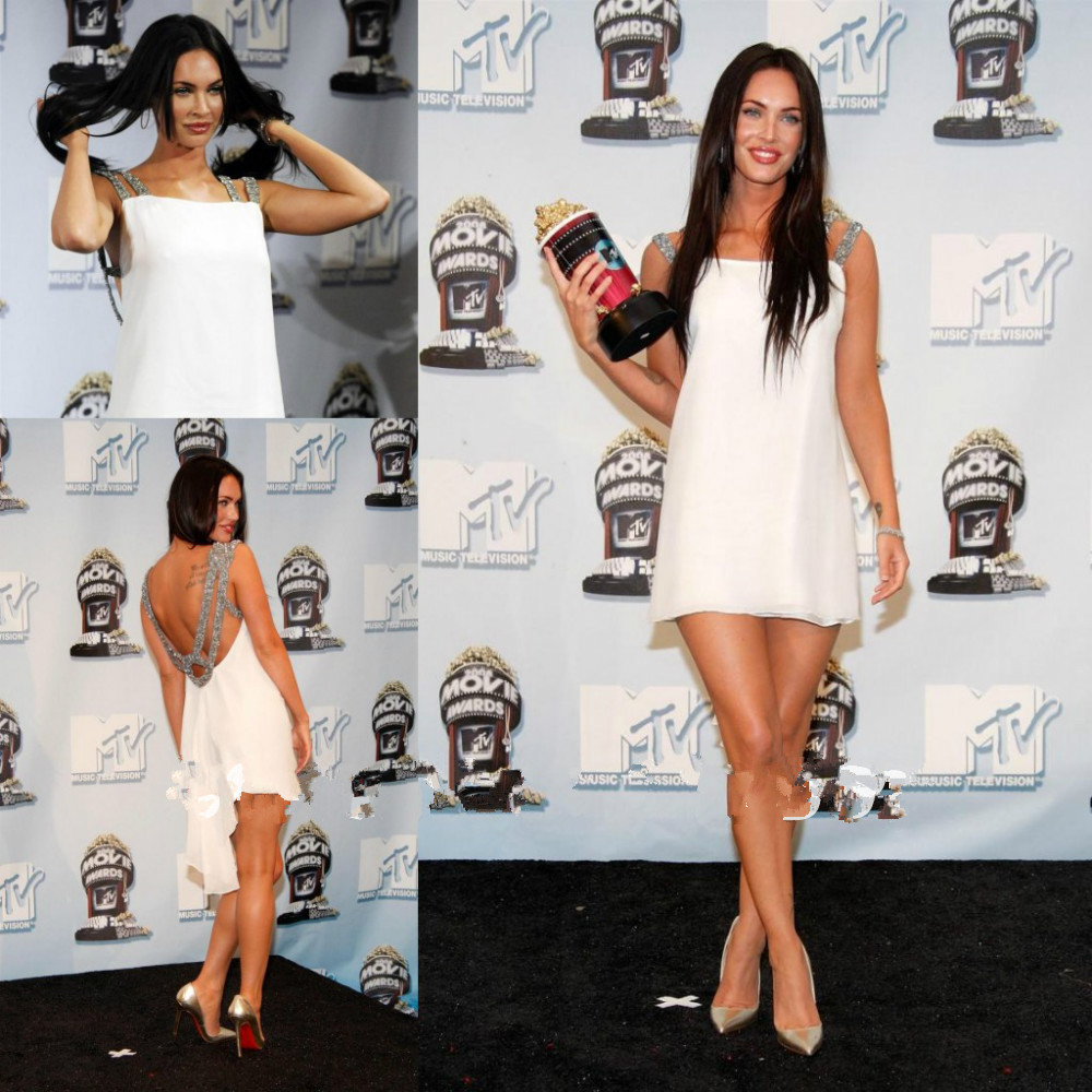 Weddings & Events 2019 New Style Megan Fox 2016 Mtv Movie Awards Red Carpet Dresses Sexy White Beaded Evening Dress Chiffon Short Mini Celebrity Dresses
