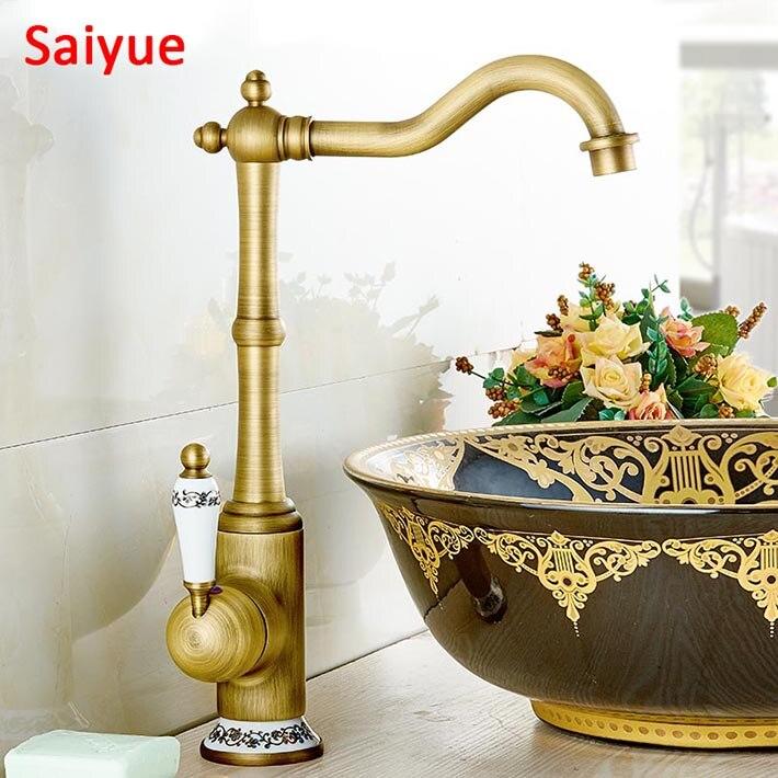 Nouveau 360 degrés pivotant bleu et blanc porcelaine mélangeur à main Style Vintage antique robinet haut en laiton finition salle de bain lavabo robinet