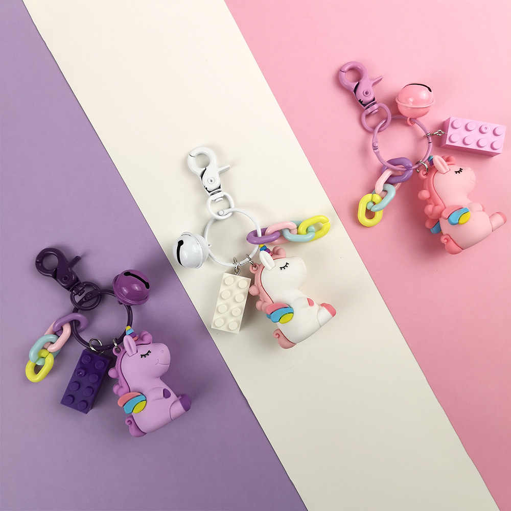 2019 Fantasia & Fantasia Hot Sale Bonito Unicórnio Animal Keychain Chaveiros PVC Mulheres Bolsa Charme Chave Pingente Anel Presentes de Alta qualidade