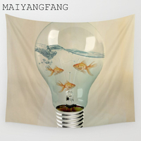 MAIYANGFANG Idea And Goldfish Painting Tapestry Polyester Wall Hanging Scandinavian Style Goldfish Pattern Wall Decor Art