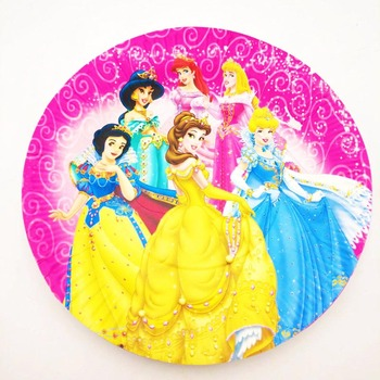 10pcs/set Princess plates 7inch children party supplies theme kids funny Birthday Party Decoration Princess Disposable plates image