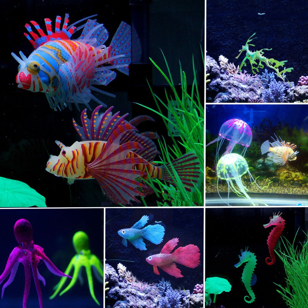 Wholesale Fish tank Landscaping Swimming Fish Artificial Jellyfish/Sea Horse/Lionfish/Coral Ornament Aquarium Fish Tank Decor - 5