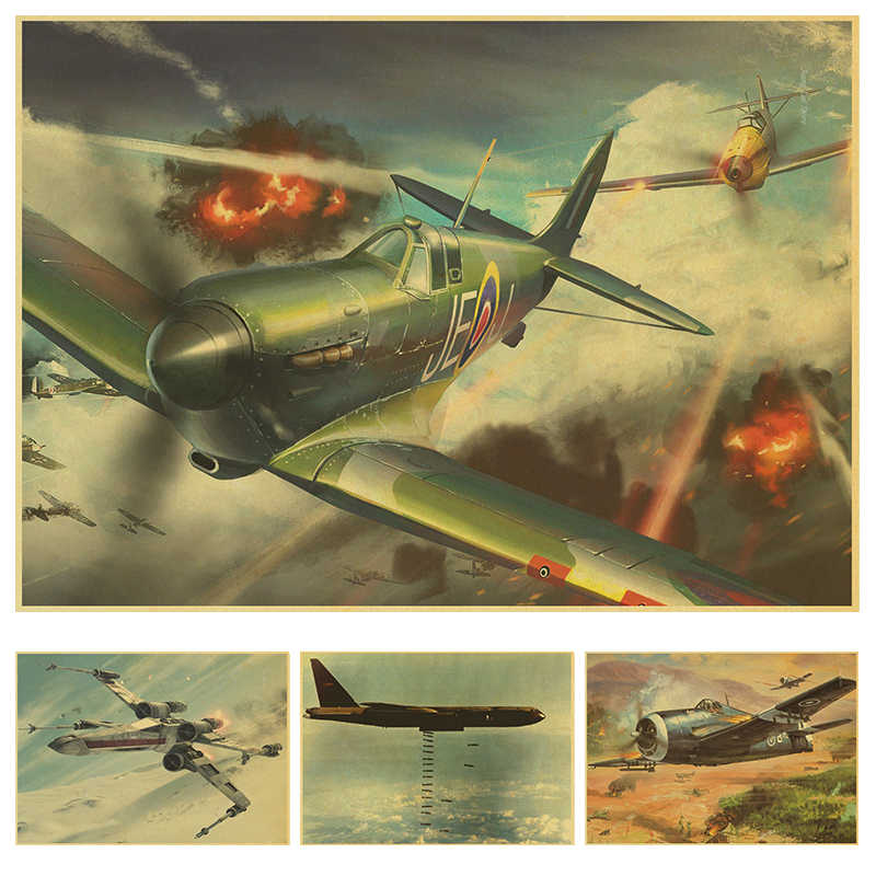 World War II plane and aircraft Poster retro kraft paper wall poster home decor