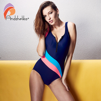 Andzhelika 2017 New Women Swimwear Bodysuit Backless Swimwear Zipper One Piece Suit Sexy High Waist Beach