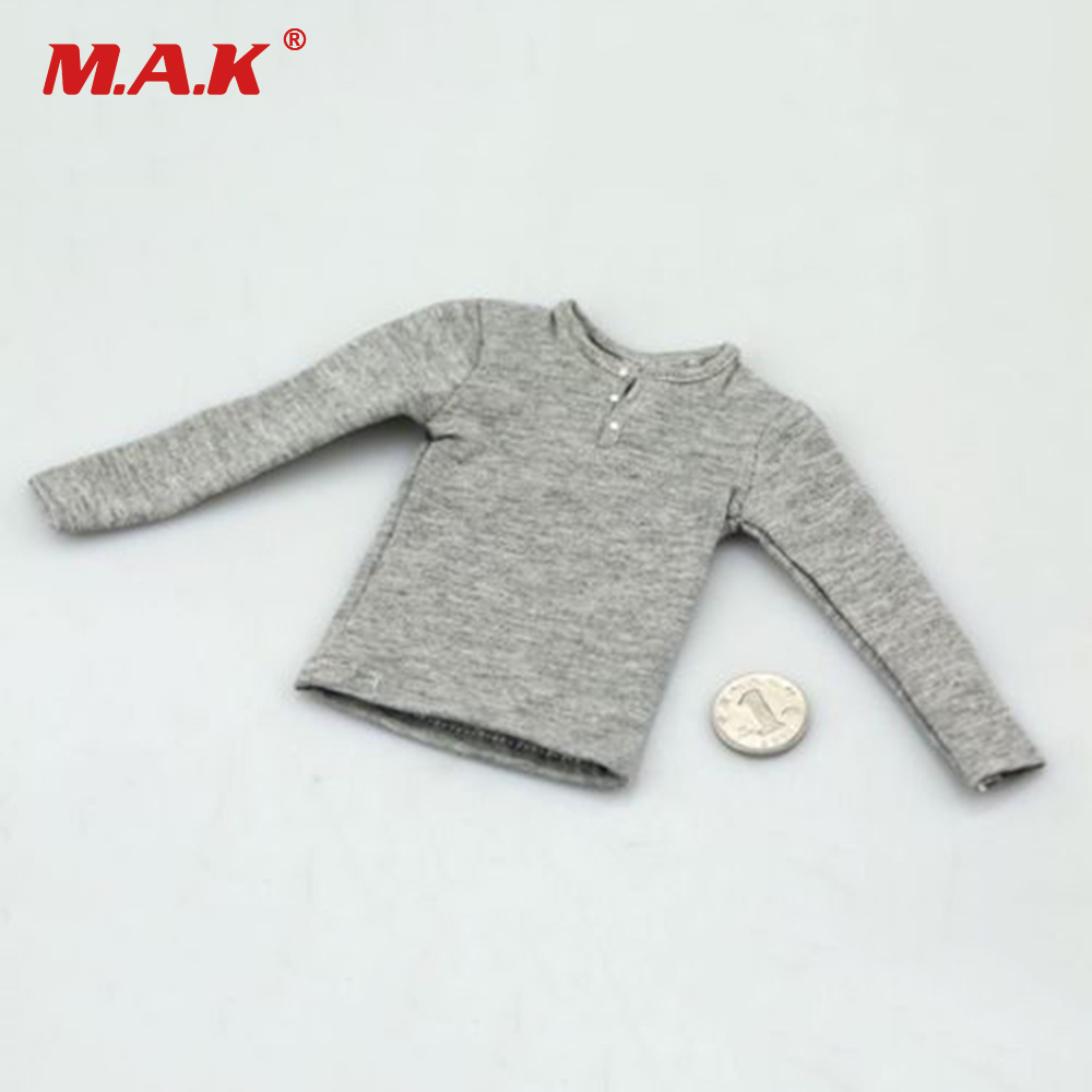 1/6 Scale Man Clothes Grey Color Mens Long Sleeve Shirt Coat Fit 12 Male Figure Body Model