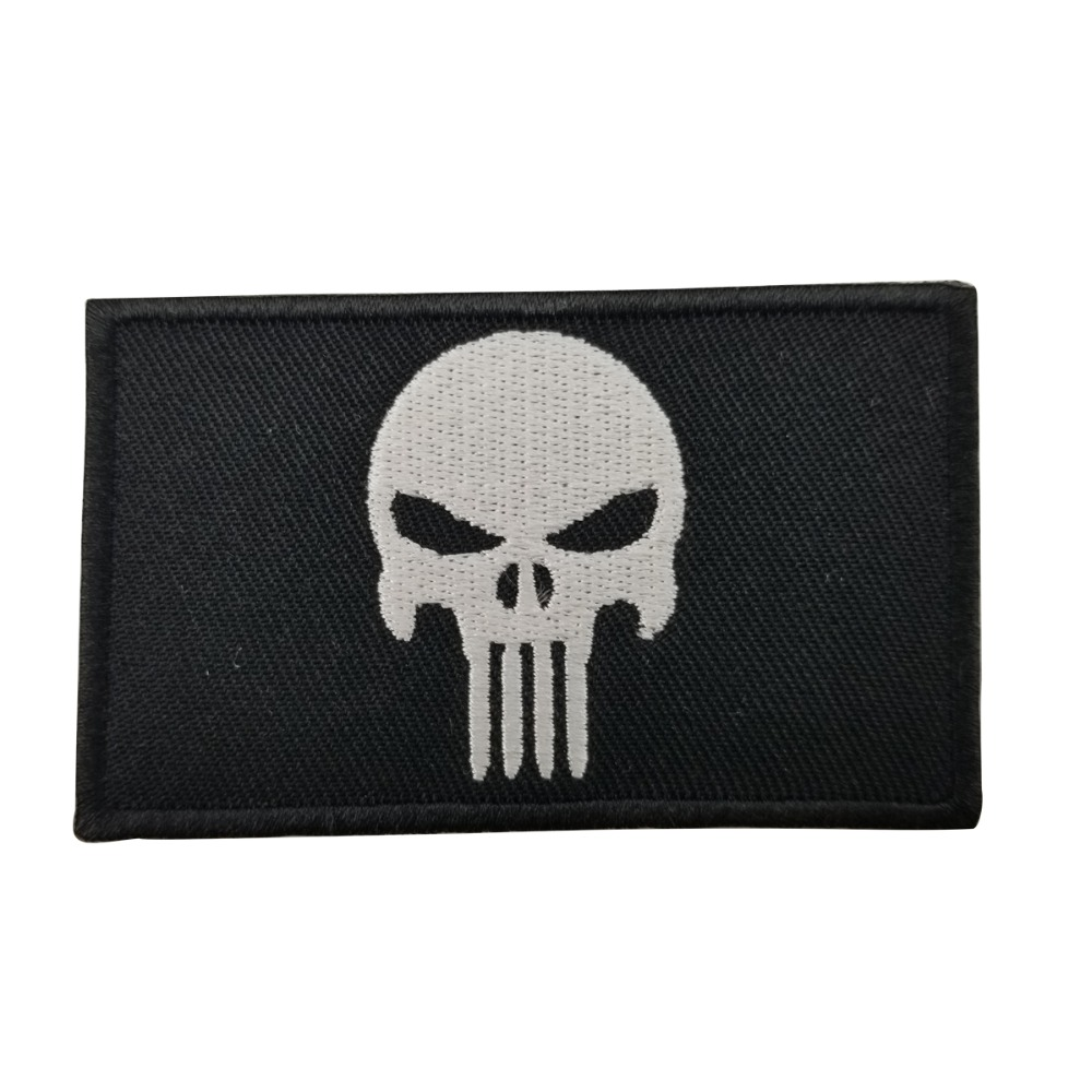 PUNISHER SKULL AMERICAN FLAG embroidered iron-on PATCH USA US