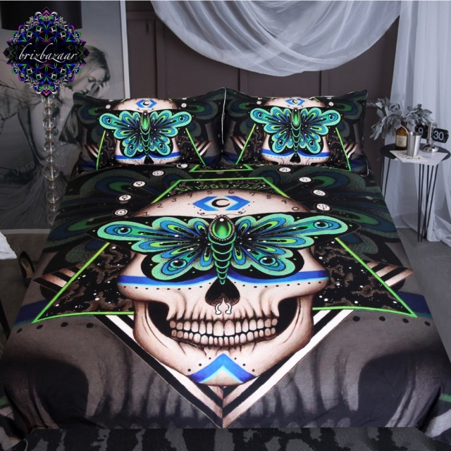 Prophecies By Brizbazaar Bedding Set Gothic Skull Duvet Cover Green  Butterfly Bed Set 3 Piece