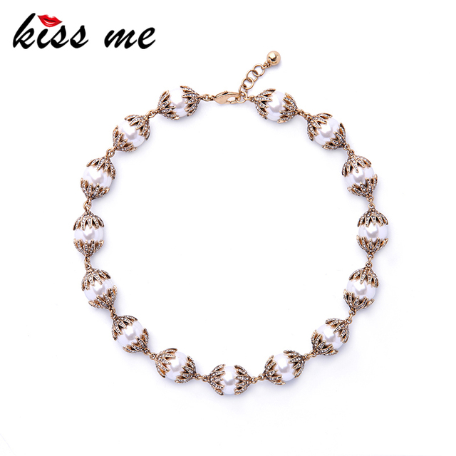 KISS ME Personalized Crystal Simulated Pearls Choker Necklace New Maxi Necklace 2017 Fashion Jewelry Accessory