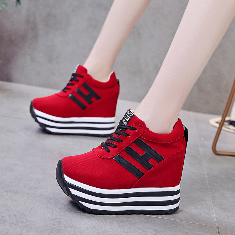 Rimocy Women Wedge Sneakers Height Increasing 10 Cm High Heel Lady Platform Casual Shoes Woman Summer Lace Up Striped Vulcanizes