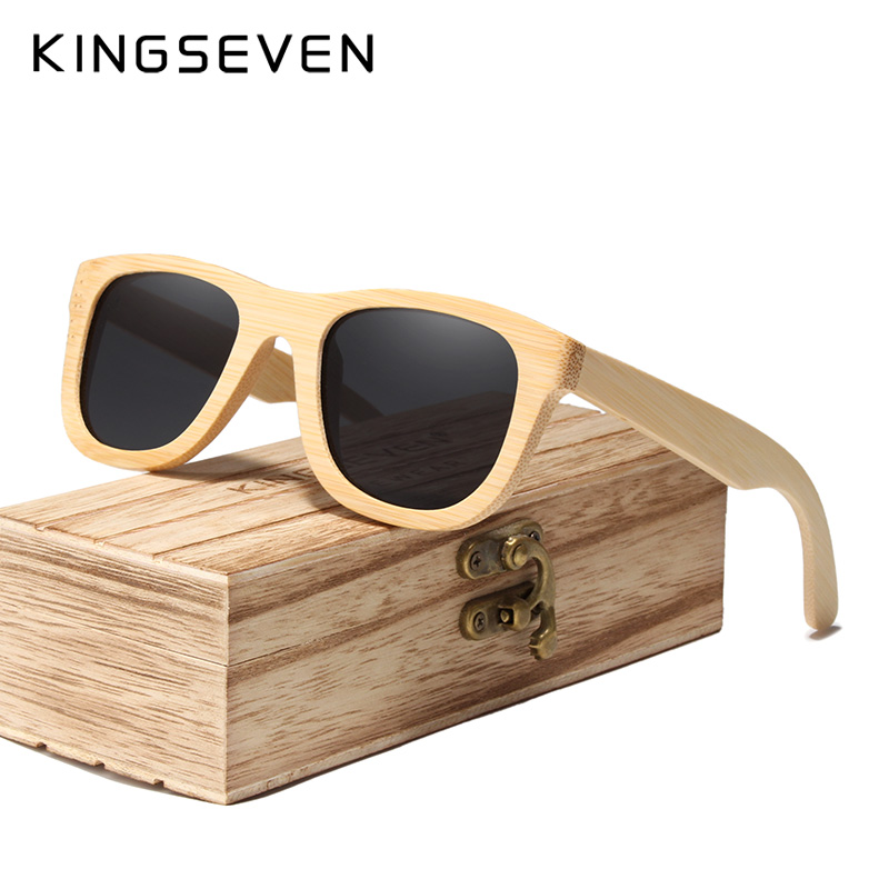 KINGSEVEN 2019 Handmade Bamboo Sunglasses Men Retro Vintage Wood Sun Glasses Women Polarized Mirror Coating Lenses Eyewear Case