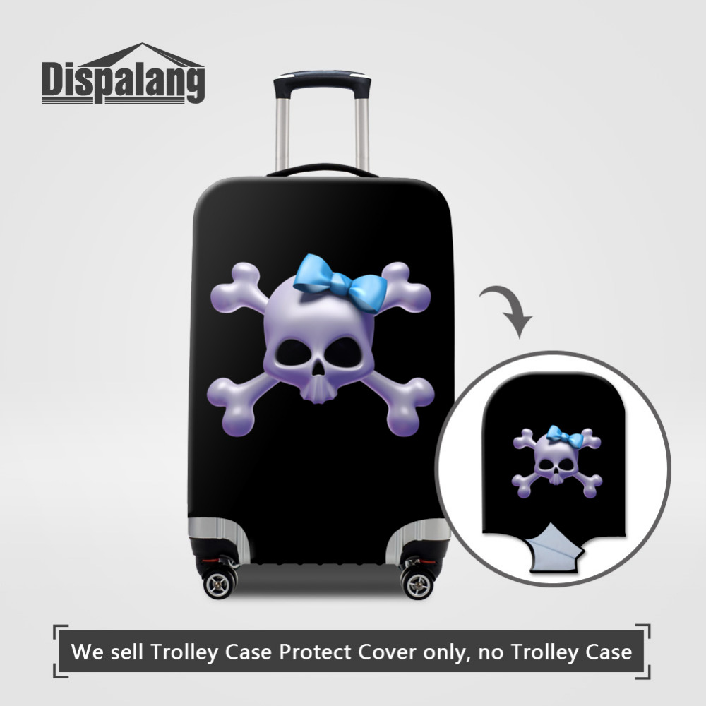 US $14 98 25% OFF Dispalang Unique Designer Luggage Protective Cover Skull  Print Travel Suitcase Cover For 18 30 Inch Suitcase Luggage Accessories-in
