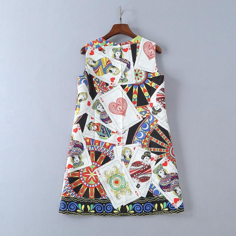 European womens wear 2018 The new spring sleeveless Round collar Card printing jacquard dress