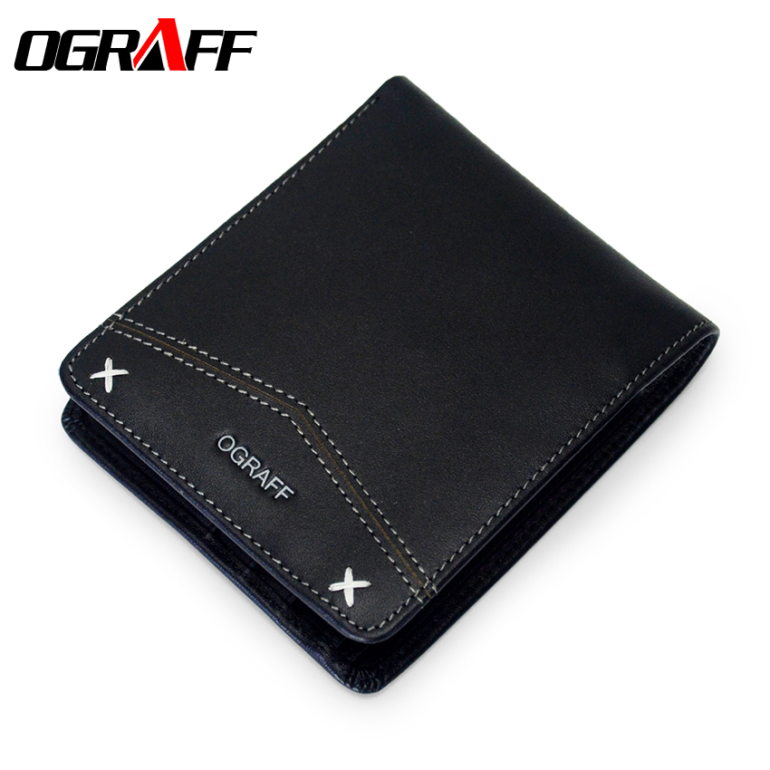 OGRAFF Wallet Male Genuine Leather Men Wallets Business Card Holder Men Coin Purse Clutch Male Purse Small Mens Wallet Money Bag contact s genuine leather vintage men wallets coin purse card holder small wallet portomonee male clutch zipper clamp for money