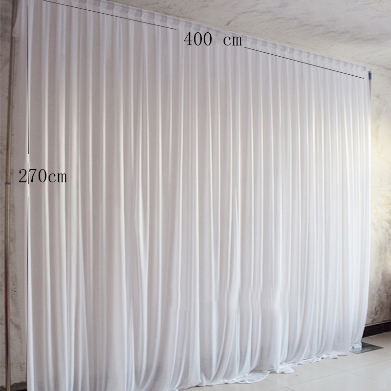 4 2 7M Simple white ice silk party curtain wedding event backdrops for stage decoration
