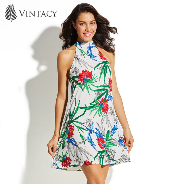 Vintacy Fl Print Colorful Beach Dress Casual Sleeveless Cold Shoulder Halter Mini Dresses Women Beachwear Bright
