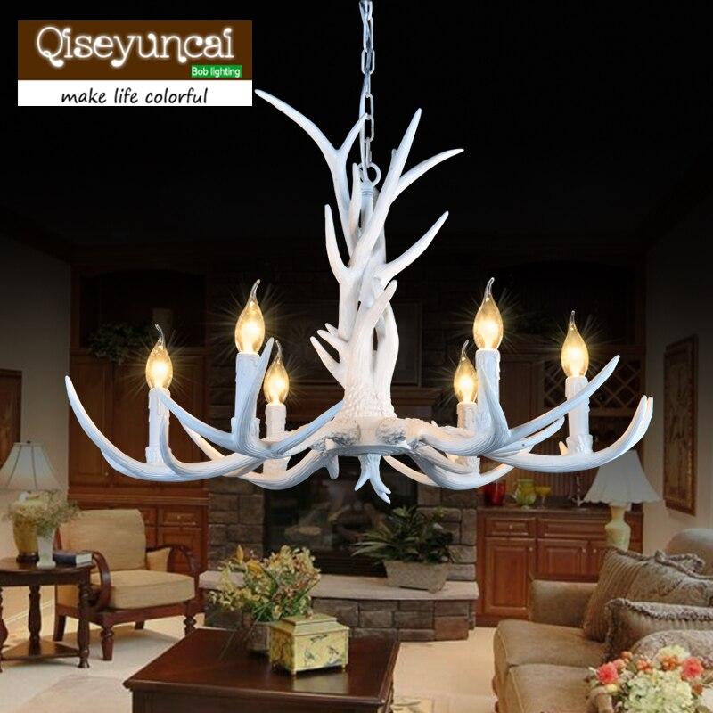 6 hlav americký jelen lustry dekorace, Evropa styl země retro paroh přívěsek světla svítidla E14 110-220V