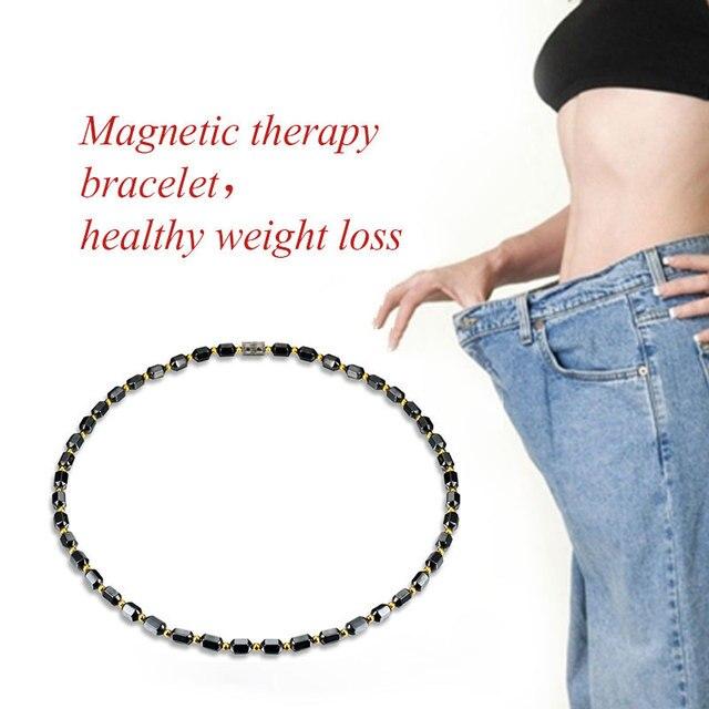 Frauen Schwarz Magnetische Halskette Perlen Hämatit Stein Therapie Abnehmen Health Care Gewicht Verlust Halskette Für Männer Frauen