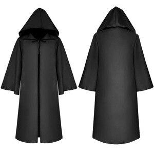 Image 3 - Halloween Tod wizard Mantel Cosplay Kostüm Mönch Robe Mit Kapuze Mantel Cape Verschiffen weinlese bruder männer Medieval Renaissance Priest kinder erwachsene