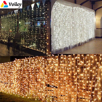 3x3M 304 LED Wedding Fairy Light Christmas Garland LED Curtain String Light Outdoor Ornaments Wedding Party Garden Decoration,5