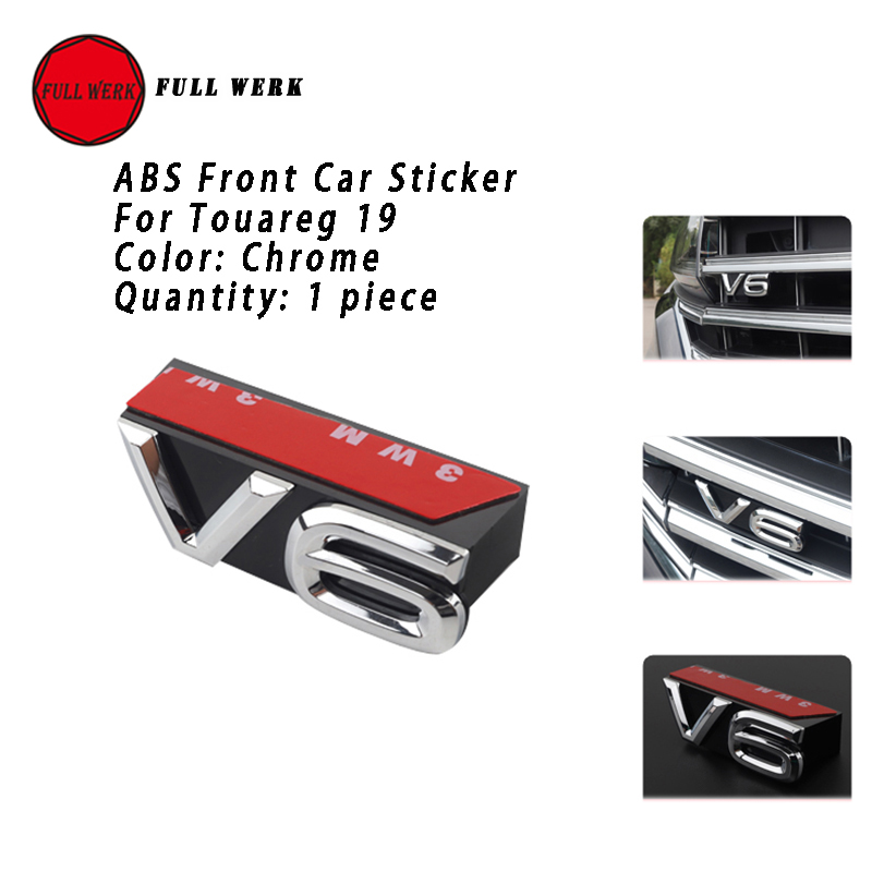 1pc ABS 3D Car Front Grille Rear Body Sticker Decal V6 Emblem Decoration Cover Decor For VW Touareg 19 Styling Accessories