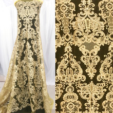NEW gold lace black, Ivory color corded wedding fabric with sequins! 1 Yard/lot sequins embroidered