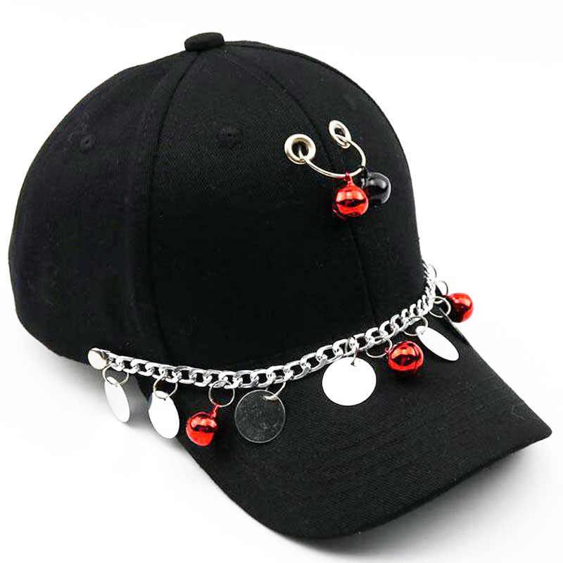 2018 ブラックメタルリング鉄野球キャップスナップバック調節可能なカジュアル帽子パンクロックスタイルのヒップホップキャップシェード帽子