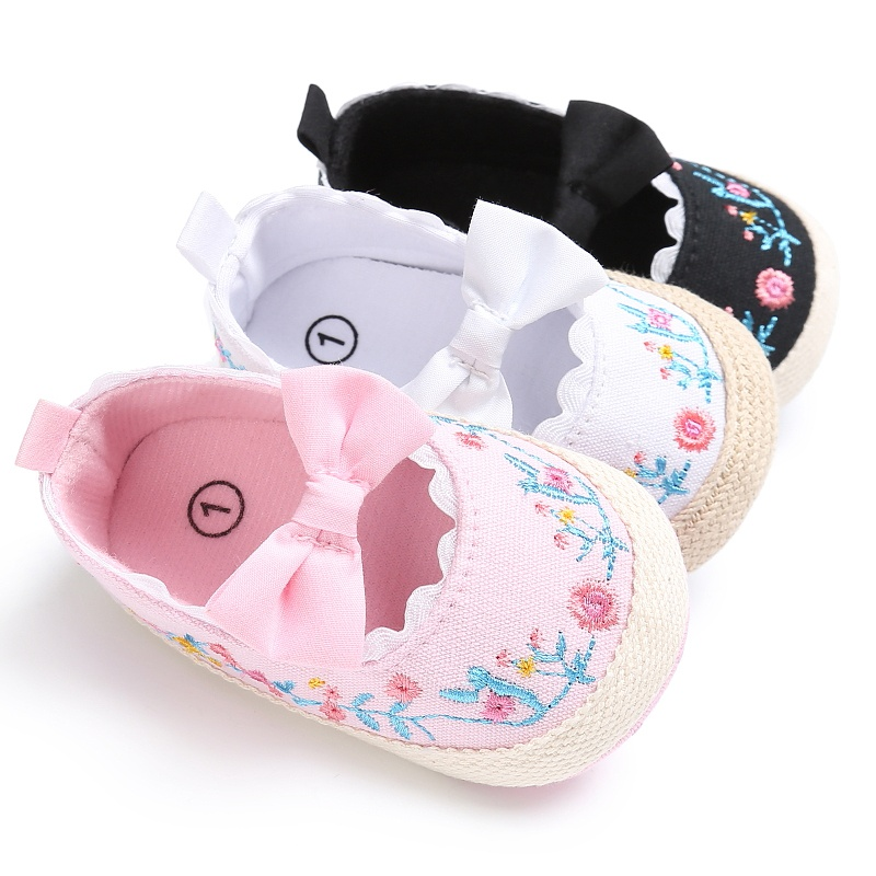 0-18M Newborn Baby Kids Girls Vintage Princess Spring Embroidered Bowknot Casual Baby Anti-Skid Soft Bottom Footwear Shoes