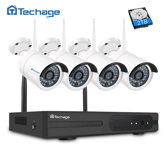 Techage 4CH 1080P Wireless NVR Kit Wifi CCTV Camera System 2MP ...