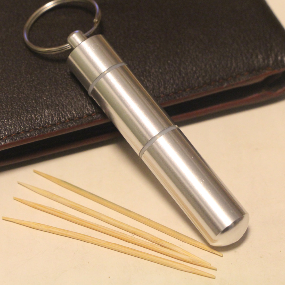 1PCS Aluminium Alloy Metal Pocket Toothpick Holder with Keychain New Fashion Portable Traveling Keychain Toothpick Tool Box 1pc aluminum pocket cigarette case automatic ejection holder lighter metal box new