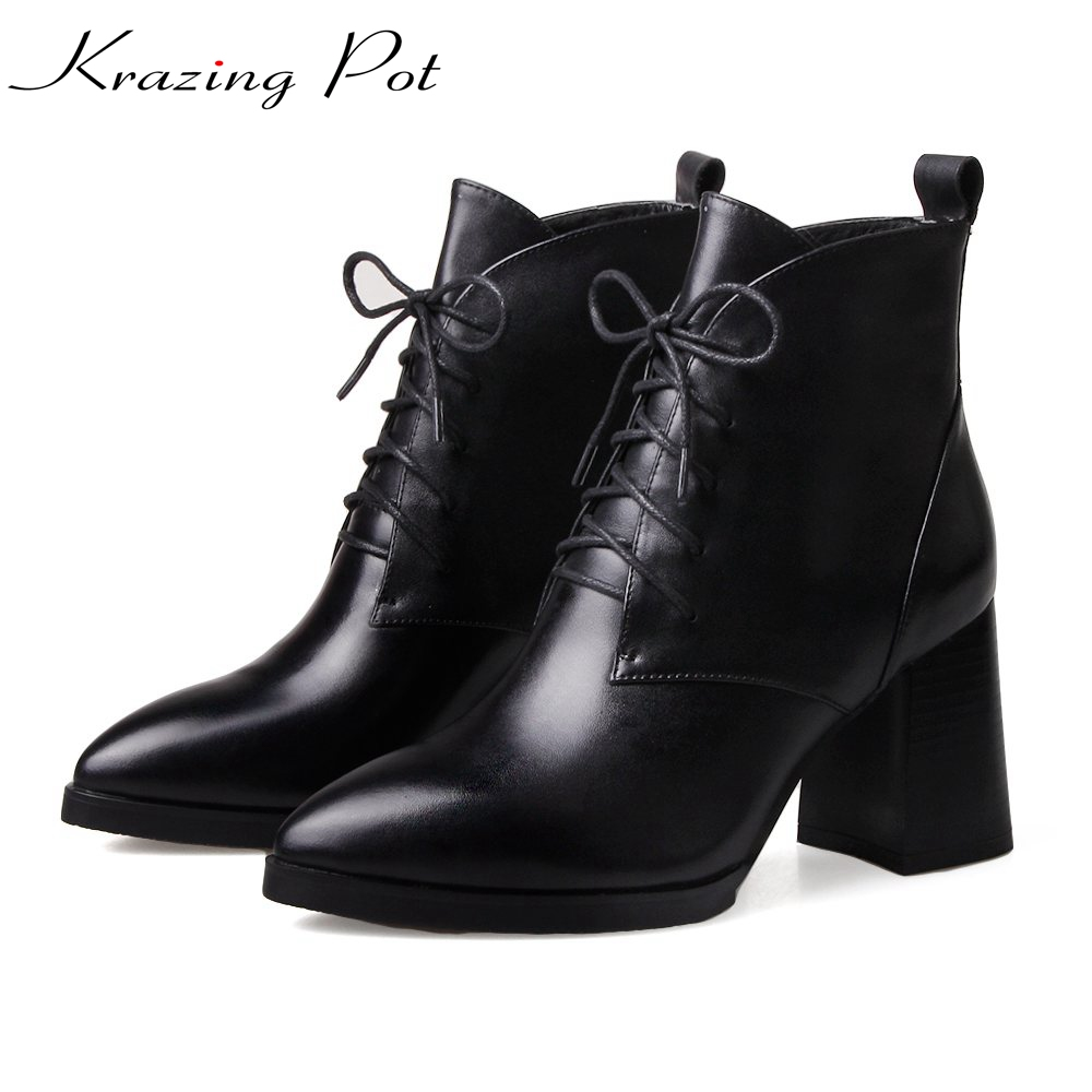 Krazing Pot 2018 new arrival genuine leather square toe high heels lace up fashion winter shoes handmade women ankle boots L41 монитор 21 5 aoc i2269vwm