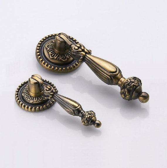 vintage look dresser drawer pulls handles knobs ring drop pull antique bronze rustic cabinet door