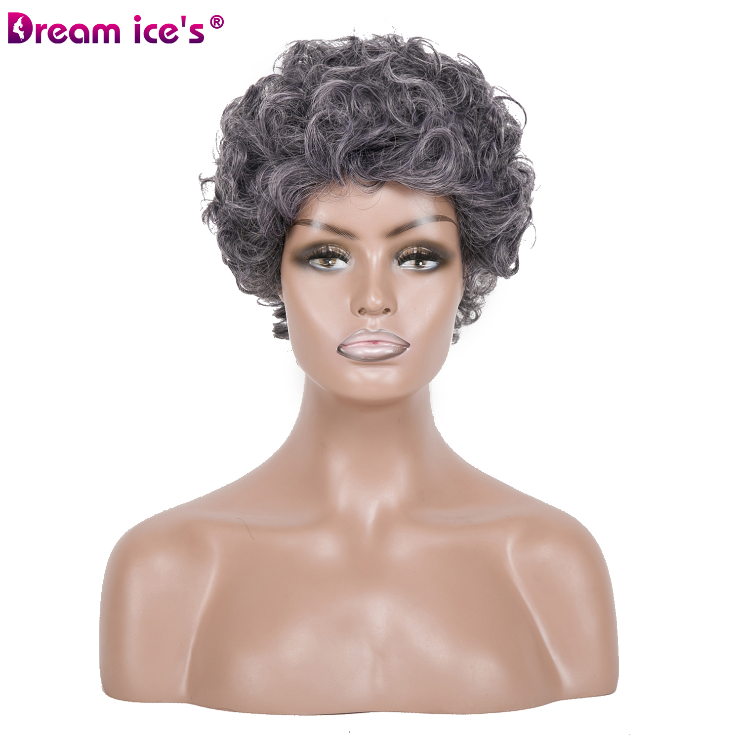 Synthetic Afro Short  Black Grey Wig Bouncy Curly High Temperature Fiber Wigs For Women Dream Ice?S