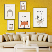 Nordic Lovely Animal Cartoon Deer Head Bear Owl A4 Canvas Painting Art Print Poster Picture Wall Home Decor Decoration