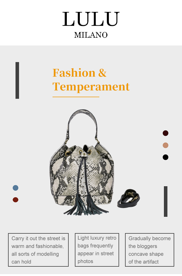 lulu milano Genuine leather leather printed snakeskin handbag made in Italy   P105-s 1