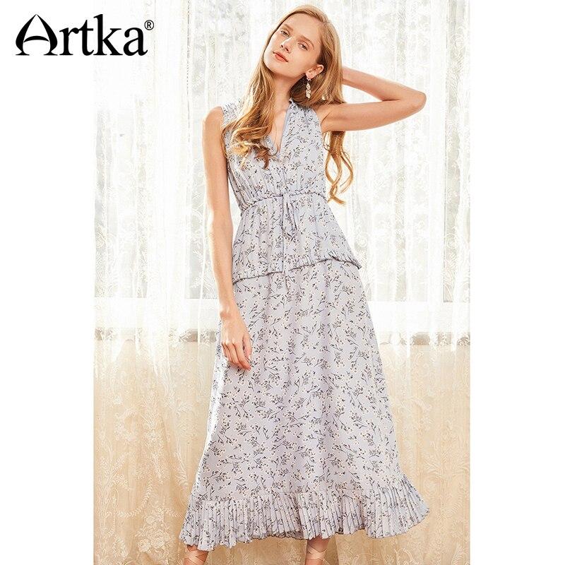 ARTKA 2018 New Summer Women Holiday Style V neck Drawstring Slim Waist Print Dress LA11089X