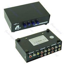 OOTDTY J34 Envío Libre 4 Puertos de Entrada 1 Salida Audio Video AV RCA Interruptor Selector Caja Nueva