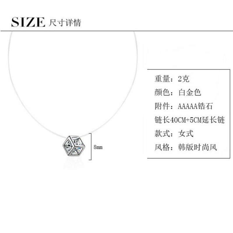 Anenjery 925 Sterling Silver Necklace For Women Cube Zircon Invisible Fish Line Short Clavicle Choker Statement Necklace S-N212