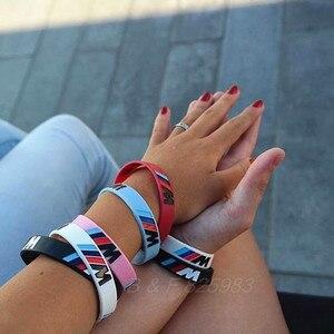 Image 5 - 100 pièces M puissance Sport Bracelet pour BMW Club Fans Bimmer Silicone Bracelet///M lumineux hologramme caoutchouc Bracelet tous les cadeaux de série