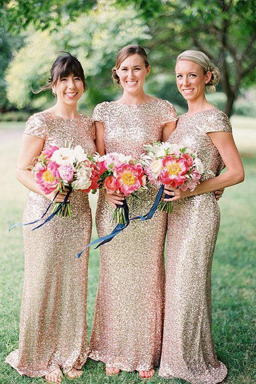 Sparkle Sheath Jewel Short Sleeves Floor-Length Gold Sequins   Bridesmaid     Dresses   Shining