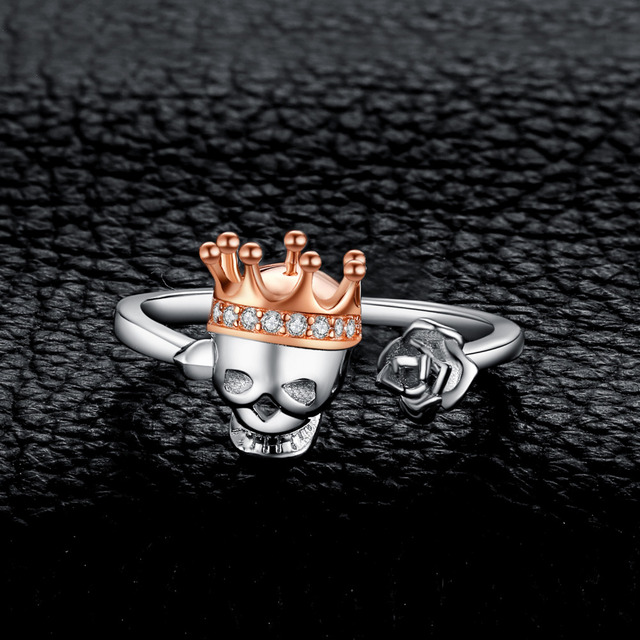 ORIGINAL 925 STERLING SILVER SKULL KING CROWN RINGS