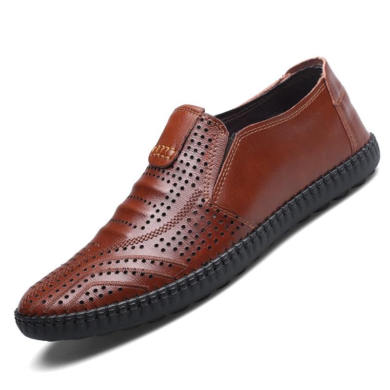 Mesh Mocassins Casual marron Chaussures Creux D'affaires Aa52132 bleu Mariage Respirant Noir Confortable Hommes Cuir Le Sur Out Glissent De E4FnEvq