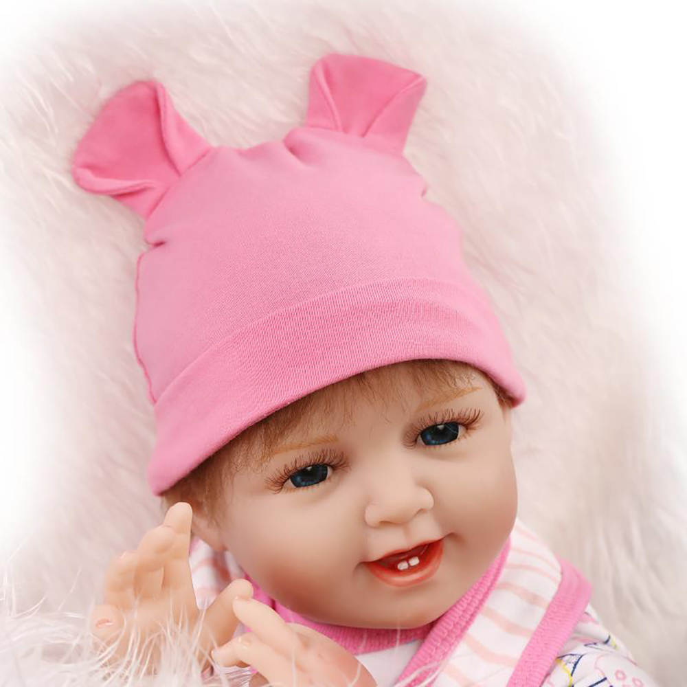 55cm Soft Body Silicone Reborn Baby Smile Doll Toy Girls Birthday Gifts Present Play House bedtime Toys Bebe Collectable Dolls