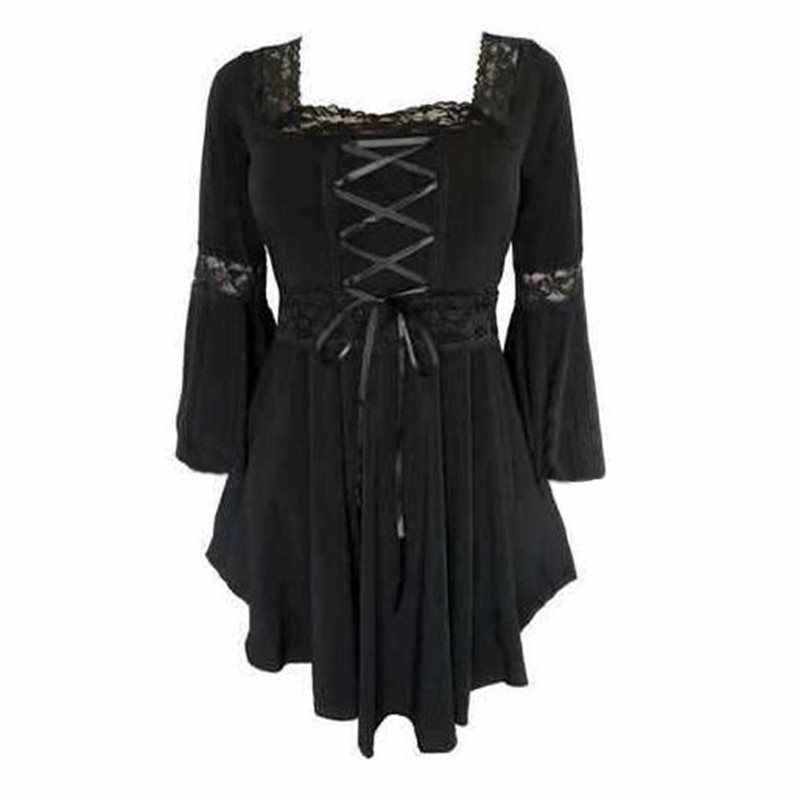 الربيع القوطية T قميص المرأة مثير الدانتيل الأسود أزياء خمر أنيقة الشارع نادي أعلى مطوي الدانتيل يصل ضئيلة عارضة T قمصان الإناث