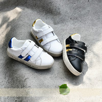 Kids Sneakers Genuine Leather Casual Shoes Boys Girls Trainers Hook Loop Solid Color High Quality Child White Sneakers 23 36