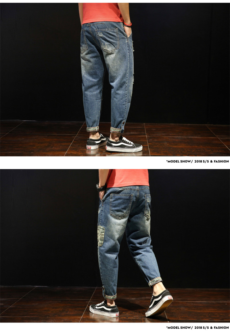 Fashion Patchwork Ripped Men's Jeans Boys Loose Casual Holes Ankle-Length Harem Pants Jeans Trousers Large Size (9)