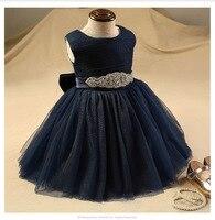 Glizt Diamond Belt Flower Girls Dresses For Weddings Royal Blue Baby Girl Party Frocks 1 Year Birthday Dress Kids Prom Dresses