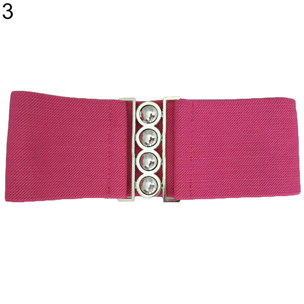 New Fashion Elastic Waistband Women\'s Fashion Cinch Buckle Wide Stretch Elastic Waist Belt Corset Waistband