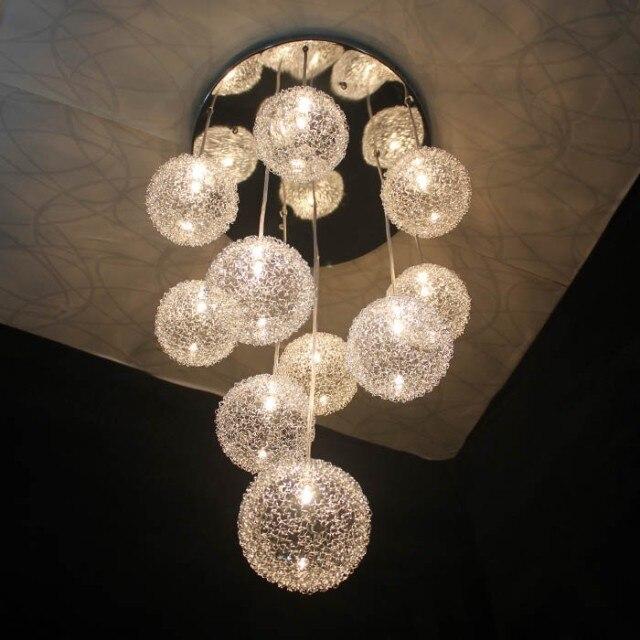 2015 Modern Aluminium Wire Ball Pendant Lights 10 Lights Hanglamp Led Pendant Lamp Fixtures For Restaurant Bedroom 110v 220v